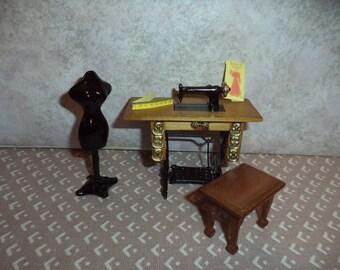 1:12 scale Dollhouse miniature old fashion sewing machine w/stool