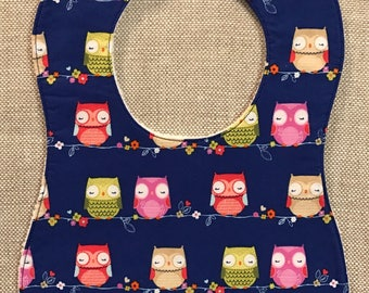 Baby Bib in Purple Owls
