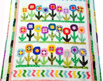 "Fun Cheerful Flower Quilt with Bright Colors, Unique Scrappy Throw Quilt 44"" x 54"""