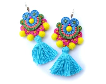 Tassel Earrings Dangle, Pom Pom Earrings, Long Earrings Colorful, Soutache Earrings, Summer Earrins, Boho Earrings, Soutache Jewelry