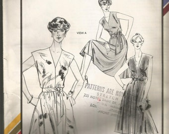 Stretch & Sew by Ann Person.  Ladies V NECK FLARED DRESS pattern.  Uncut and factory folded. Bust sizes 28 to 44.  Great vintage pattern
