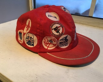 Vintage 1970s Red Child's American League Baseball Cap, Royals, Red Sox, Yankees