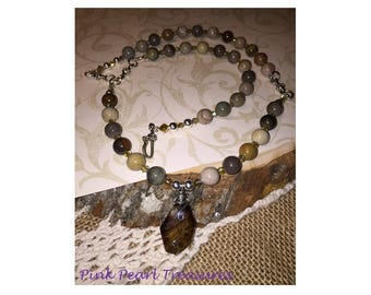 Brownstone Pendant and Ocean Jasper Necklace