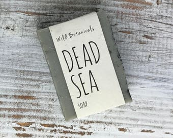 Dead Sea Salt Soap, Organic Soap, Palm Free Soap, All Natural, Scented, Vegan, Handmade, Cold Process Soap, Wildflower Seed Paper