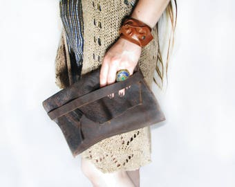Leather clutch / Brown leather handbag / Aged leather bag