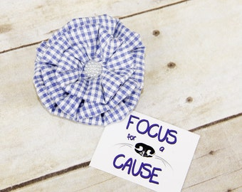 Dog Collar Flower Accessory, Purple and White Plaid, Harness Flower, Fabric Flower by Focus for a Cause