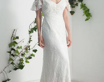 French lace wedding dress, open back lace wedding dress, backless wedding dress, french lace open back wedding dress, elegant lace wedding