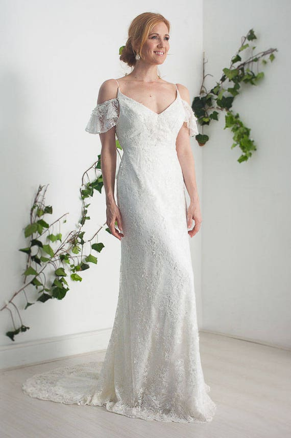 Items similar to french lace wedding dress open back lace for Best etsy wedding dress shops