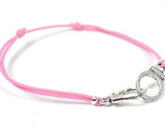 Silver cuff bracelet pink cord