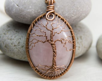 Tree-Of-Life Necklace Pendant Copper Wire Wrapped Pendant Pink Quartz  Wired Copper Jewelry Christmas gift Tree Pink Necklace gift for women
