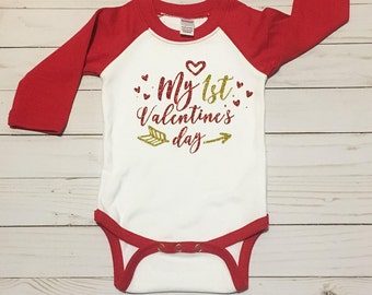 My 1st Valentine's Day - Valentine's Day outfit - First Valentine's Day - Baby Body Suite - Baby Shower Gift - Raglan Body Suite