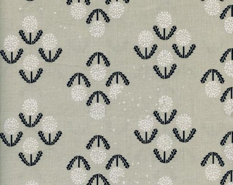 Black and White Puff  Dandelion Flowers Cotton and Steel Fabric 5028-1 BTY