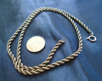 """Rope Chain 2.5mm and 13.7g Vintage Sterling Silver Necklace (18.25"""")"""