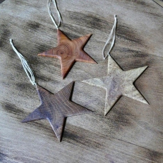 Set of 3 Wooden Star Christmas Ornaments, Christmas Star Ornament, Eco Rustic Christmas, Natural wood Nature Ornaments, Holiday Decor