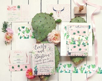 Desert Wedding Invitation - Cactus Wedding Invites - Cacti Blooms Boho Hipster Invitation Suite - Printable or Printed