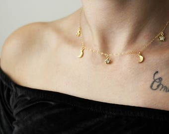Star Moon Necklace / Moon Star Choker Necklace / Crescent Moon Necklace Gold or Silver