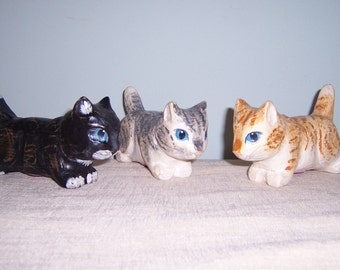 Carved Wooden Kittens
