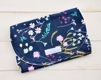 Burp Cloth - Spit Up Pad - Contoured - Enchanted Floral Navy