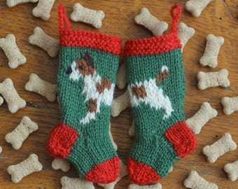 Jack Russell Terrier Dog Hand-Knit Christmas Stocking Ornament  *Available to Order*