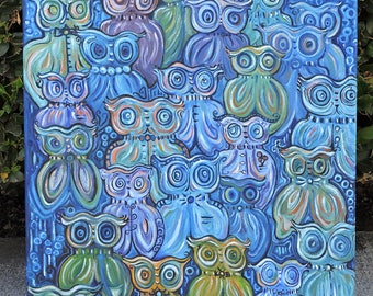 Owls, Original, Oil, Painting,  Barn Owl, Mom Gift, Gifts For Her, Gifts For Sister, Abstract, Canvas, Whimsical,Colorful,Interesting,Unique