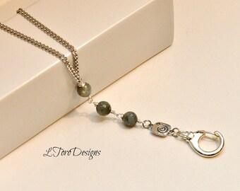 Labradorite Badge Holder,ID Badge Holder,ID Necklace,Lanyard,ID Lanyard,Lanyard Key Chain,Lanyard, Silver Lanyard, Women Lanyard, Key Chain