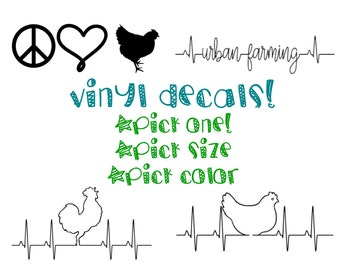 Free Domestic Shipping! Chicken vinyl Decals, car decals, yeti decals, chicken love, crazy chicken lady,roosters, hen, urban chickens,