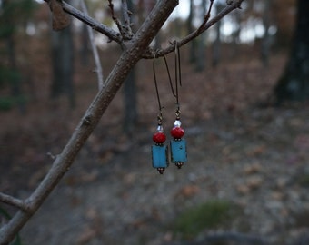 Turquoise Earrings with red and Crystal bead