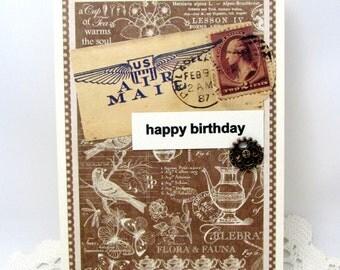Masculine Birthday - Birthday for Him - Vintage Style - Brown - Steampunk Birthday - Masculine Card - Blank Card - Air Mail - Happy Birthday