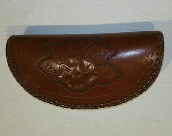 Vintage zippered tooled leather coin purse, makeup bag