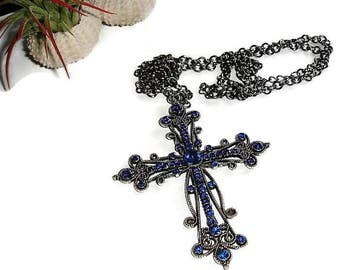 Cross Pendant Silver Cross Pendant Blue Crystal cross Pendant for Faithful Rhinestone cross Blue Cross Necklace gift for her Gift for her