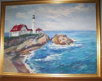 Vintage oil painting Portland Head Light
