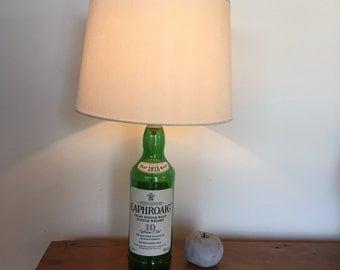 Upcycled LAPHROAIG BOTTLE LAMP, 10 year old single malt whisky, Islay, whisky lamp