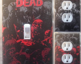 The Walking Dead light switch wall plate covers kid room, bedroom, Man Cave decor Zombies