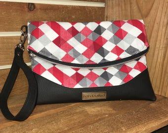 Foldover Clutch Wristlet Purse, Heidi Swoon Lumberjack Red White Black Plaid