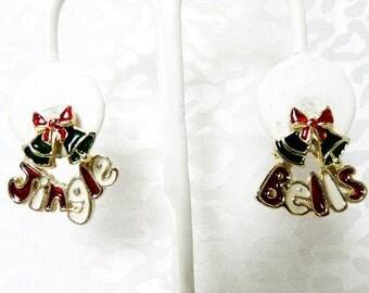 Christmas Pierced Earrings / Enameled Jingle Bell Pierced Earrings