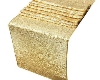 Gold Sequin Table Runner for Weddings & Parties