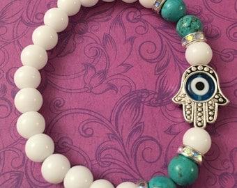 Hamsa, Evil Eye bracelet with white, turquoise beads and a turquoise evil eye, crystal aurora rondelle beaded bracelet, Hamsa hand