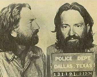 American country singer Willie Nelson Mug Shot, Mugshot, 1974