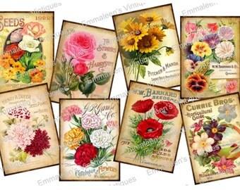 Vintage Image Victorian Grunge Tag Flower Seed Catalogs Waterslide Decals~FL465