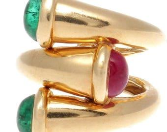 David Webb Emerald Ruby Gold Ring