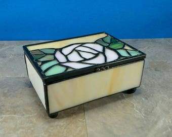 Vintage Stained Glass Pink Rose with Green Leaves Trinket Box with Chained Lid