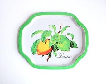 Vintage Tray, Metal Tray, Lemon Tray, Small Metal Tray, Green Tray, Small Tray Small Green Tray Trinket Dish Jewelry Tray Key Tray Ring Dish