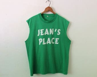 LARGE Vintage 1980s Jean's Place Hoosick Falls Soft and Thin Custom-Ripped Sleeveless Tank Top