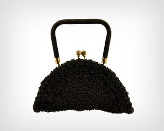 30s Purse // 1930's Black Beaded Clamshell Purse w/ Brass Hardware