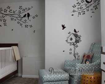 Vinyl Wall Decals Grey branch Wall Sticker birds Nursery wall Decal Children wall vinyl decal tree-set of 2 corner branch with birds-DK273