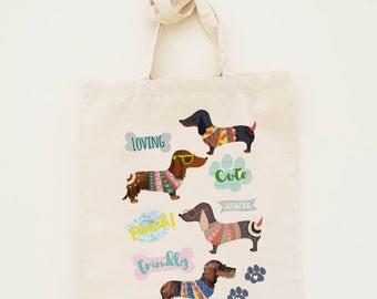 Cotton Tote Bag Limited Edition Sausage dog Illustration - Canvas Cotton Tote Bag