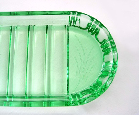 Green Glass Vanity Light : Early Vintage Green Glass Etched Vanity Tray c. 1940s