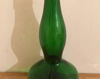 Vintage Green Glass Bottle Retro Emerald Art Glass Bottle Genie Lamp Base CiderStamped REG D DES No 910569. - 1513-8