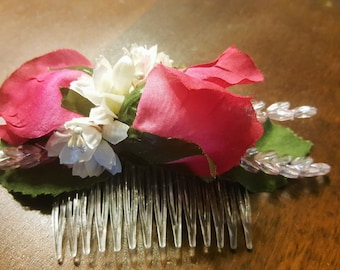 Pink roses hair comb