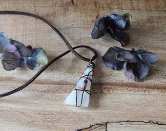 White Glass Pendant, Wire Wrapped Stained Glass Jewelry, Unique Jewelry for Women, Eco Chic, Recycled Tumbled Glass, Gifts under 20